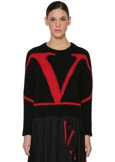 Valentino Vlogo Intarsia Alpaca Cropped Sweater
