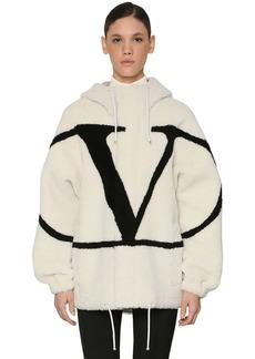 Valentino Vlogo Intarsia Hooded Shearling Jacket