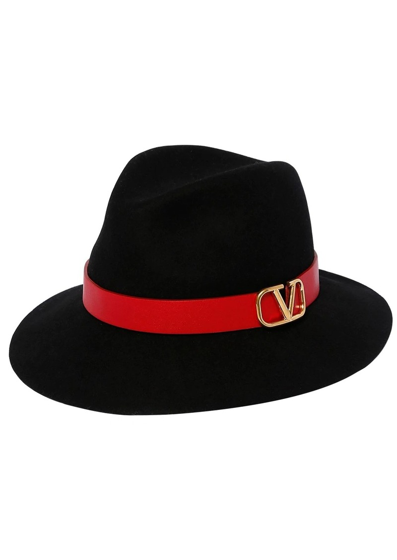 Valentino Vlogo Leather Piping Fedora Hat