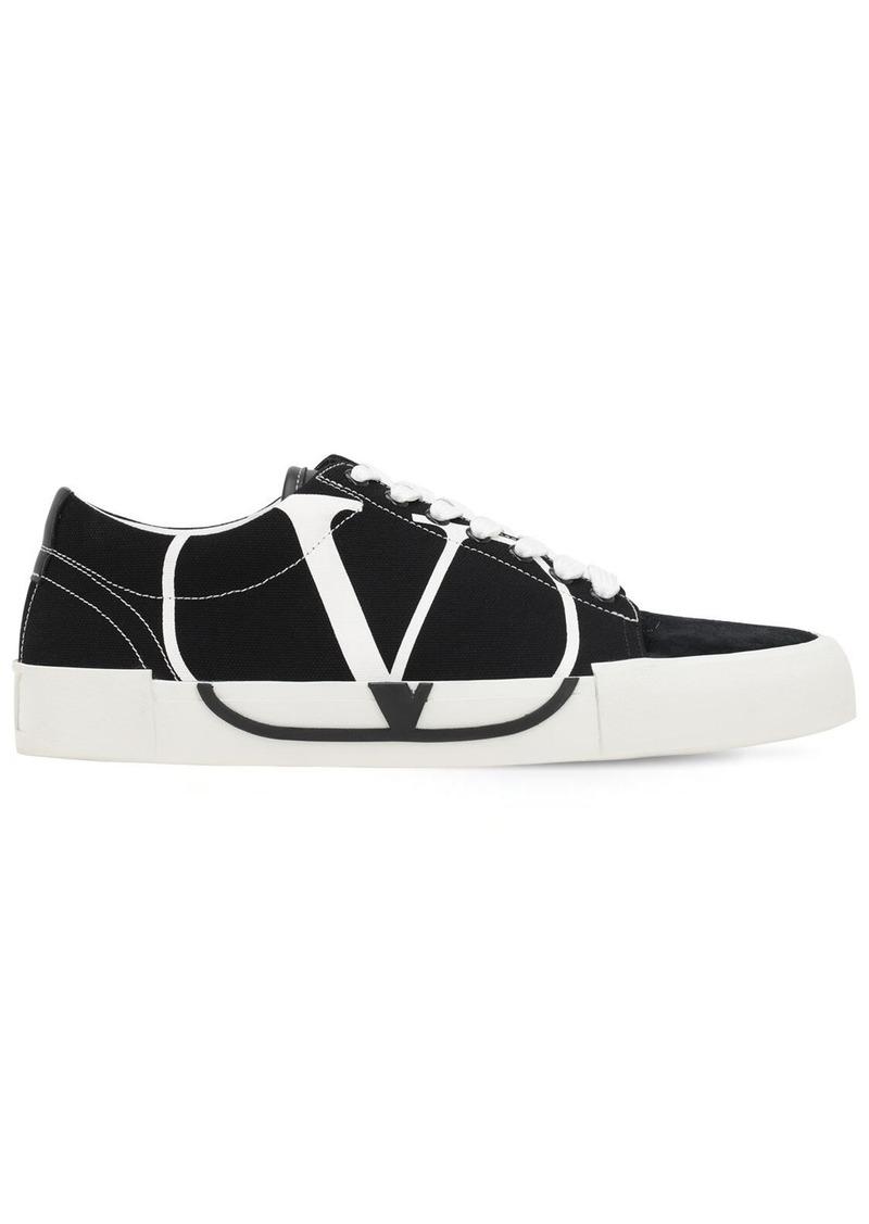 Valentino Vlogo Low Top Canvas & Suede Sneakers