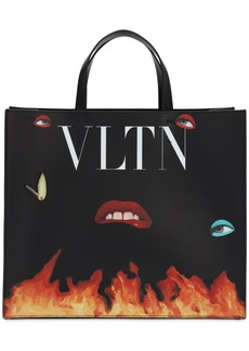 Valentino Vltn Flame Print Leather Tote Bag