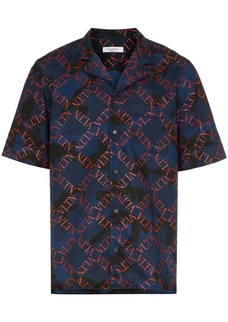 Valentino VLTN grid camouflage print shirt