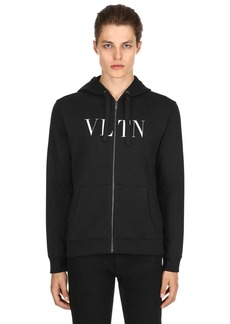 Valentino Vltn Hooded Zip-up Cotton Sweatshirt