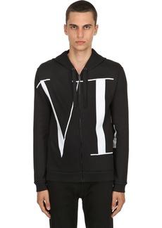 Valentino Vltn Logo Zip-up Cotton Sweatshirt
