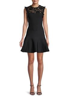 Valentino Waffle-Knit Lace Fit-&-Flare Dress
