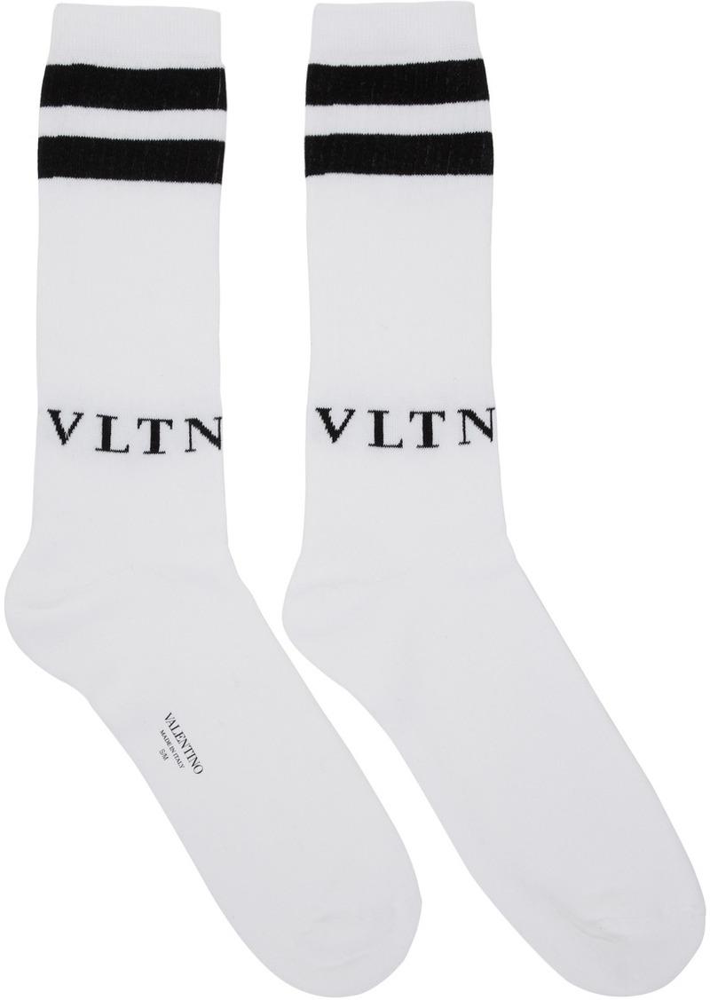 White & Black Valentino Garavani 'VLTN' Socks