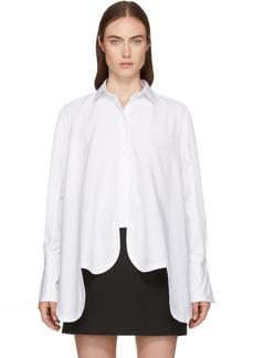 Valentino White Asymmetric Scalloped Shirt