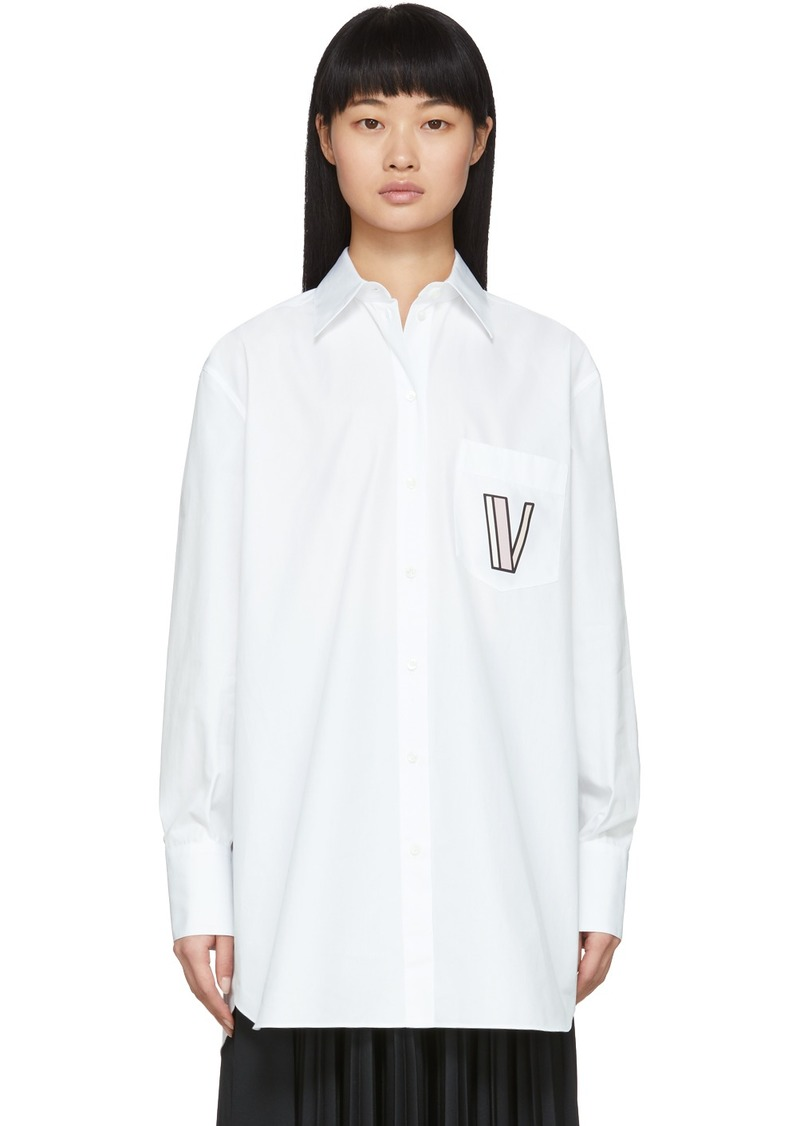 Valentino White Poplin Logo Shirt
