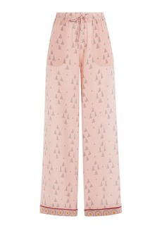 Valentino Wide Leg Printed Silk Pants