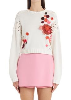 Women's Valentino Embroidered Crop Cotton Sweater