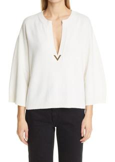 Women's Valentino Vlogo Plunge Neck Cashmere Sweater