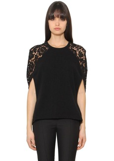 Valentino Wool & Cashmere Knit & Lace Top