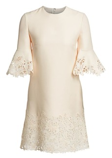 Valentino Wool & Silk Flutter Sleeve Lace Dress