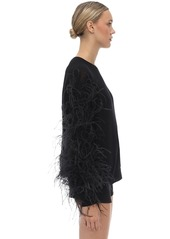Valentino Wool Blend Knit Sweater W/ Feathers