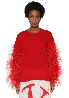 Valentino Wool Blend Knit Sweater W/feathers