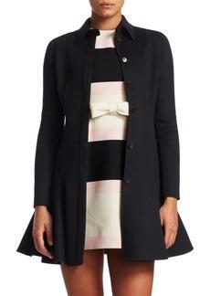 Valentino Wool-Cashmere Flare-Hem Coat