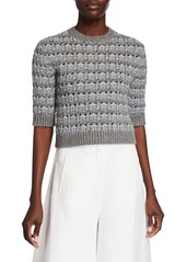 Valentino Wool Cropped 3/4-Sleeve Sweater