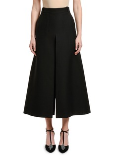Valentino Wool-Silk Wide-Leg Crop Pants