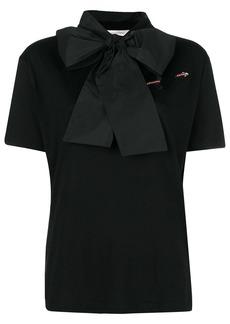 Valentino woven bow-neck T-shirt