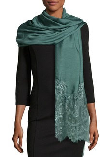 Valentino Woven Lace-Trim Shawl