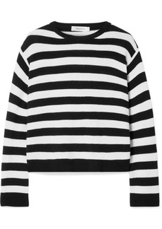 Valentino Wrap-effect Bow-embellished Striped Cashmere Sweater
