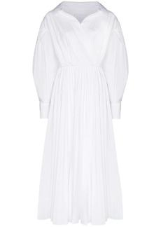 Valentino wrap pleated shirt dress