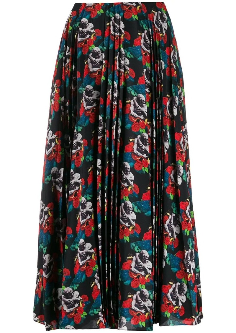 Valentino x Undercover lovers print pleated skirt