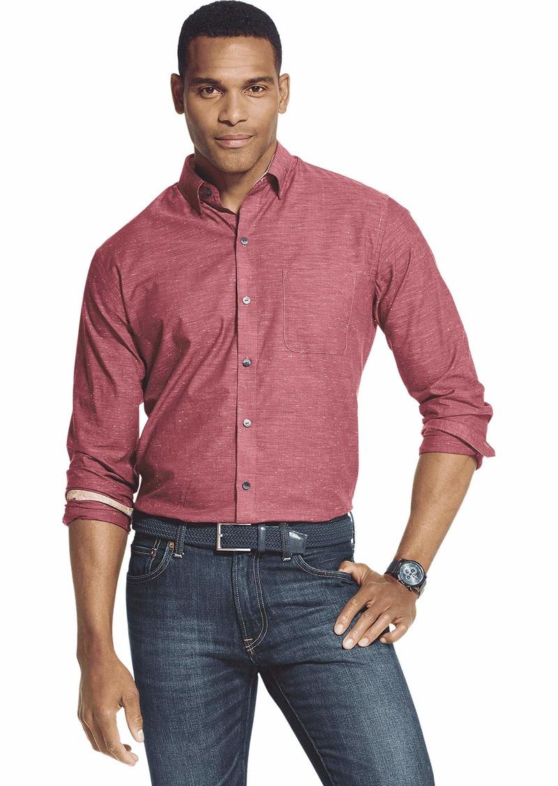 Van Heusen Men's Air Long Sleeve Button Down Shirt red Tibetan