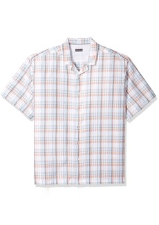 Van Heusen Men's Air Seersucker Short Sleeve Button Down Poly Rayon Plaid Shirt