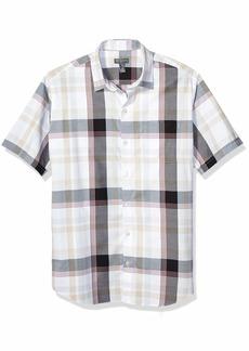 Van Heusen Men's Air Seersucker Short Sleeve Button Down Poly Rayon Shirt