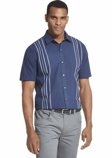 Van Heusen Men's Air Short Sleeve Button Down Panel Stripe Shirt