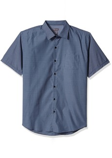 Van Heusen Men's Air Short Sleeve Button Down Poly Rayon Grid Shirt