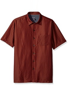 Van Heusen Men's Air Short Sleeve Button Down Poly Rayon Print Shirt