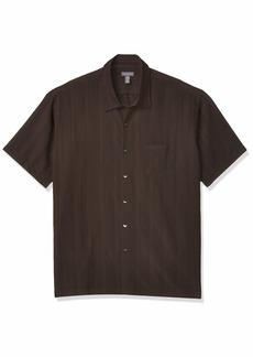 Van Heusen Men's Air Short Sleeve Button Down Poly Rayon Stripe Shirt black