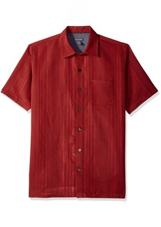 Van Heusen Men's Air Short Sleeve Button Down Poly Rayon Stripe Shirt deep red Cabernet