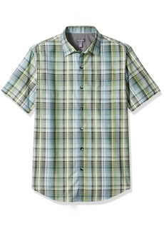 Van Heusen Men's Air Short Sleeve Yarndye Shirt Green OBI