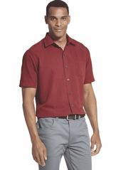 Van Heusen Men's Air Stripe Short Sleeve Button Down Shirt red Syrah