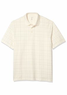 Van Heusen Men's Big & Tall Big Flex Short Sleeve Stretch Windowpane Polo Shirt whisper White 2X-Large Tall