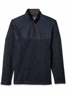 Van Heusen Men's Big and Tall Flex 1/4 Zip Texture Block Sweater Fleece