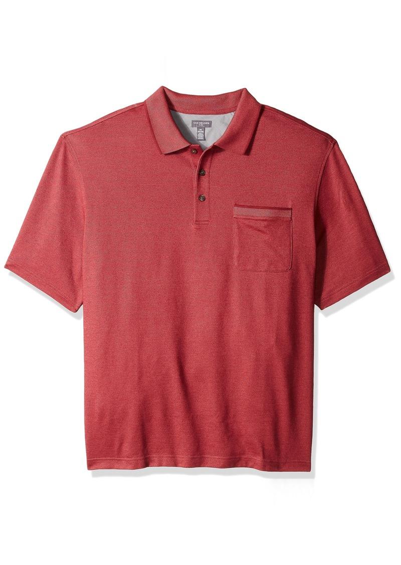 Van Heusen Men's Big Flex Short Sleeve Stretch Solid Polo Shirt red Cabernet 2X-Large Tall