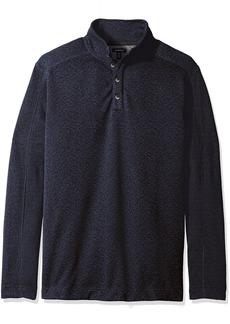 Van Heusen Men's Big and Tall Solid Button Mock Sweater Fleece  2X-Large