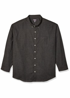 Van Heusen Men's Size Big and Tall Wrinkle Free Poplin Long Sleeve Button Down Shirt  Large