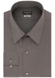 Van Heusen Men's Classic/Regular-Fit Performance Stretch Wrinkle-Free Flex-Collar Gray Geo-Print Dress Shirt