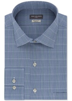 Van Heusen Men's Classic/Regular Fit Wrinkle Free Flex Collar Stretch Blue Check Dress Shirt