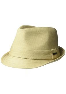 Van Heusen Men's Cotton Herringbone Twill Fedora Hat with Metal Plate Logo  L/XL
