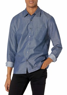 Van Heusen Men's Fit Never Tuck Long Sleeve Button Down Shirt   Slim