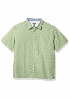 Van Heusen Men's Fit Never Tuck Short Sleeve Button Down Shirt   Slim