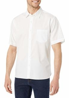 Van Heusen Men's Fit Never Tuck Short Sleeve Solid Button Down Shirt   Slim
