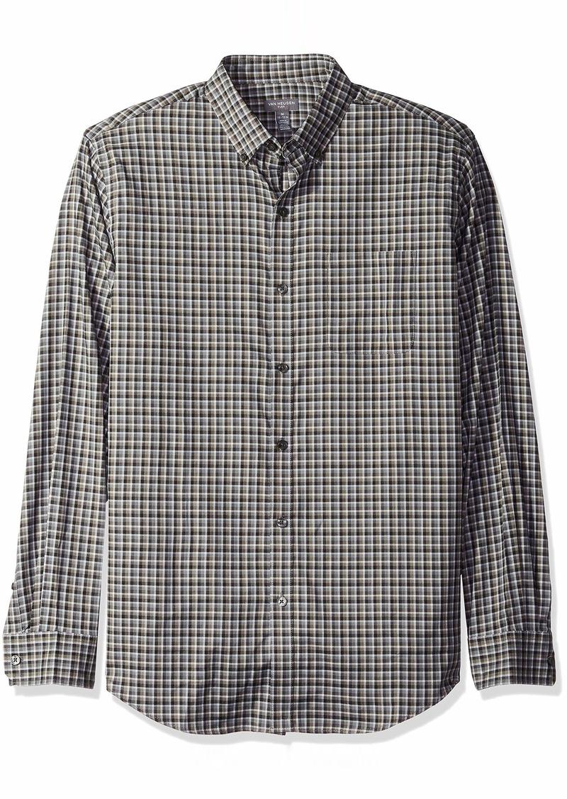 Van Heusen Men's Flex Long Sleeve Button Down Stretch Plaid Shirt