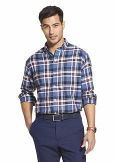Van Heusen Men's Flex Long Sleeve Button Down Stretch Shirt SEA Navy Plaid  Slim